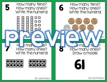 1NBT2 Place Value with Tens and Ones (Two-Digit Numbers) *QR* MATH TASK CARDS