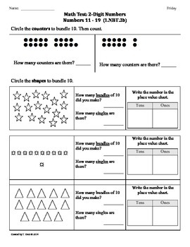 (1.NBT.2b) 2-Digit Numbers - 1st Grade Common Core Math Worksheets-2nd 9 Weeks