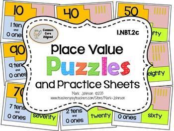 1.NBT.2c  Place Value Puzzles and Practice Sheets
