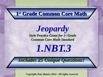 1.NBT.3 Jeopardy Game 1st Grade Math Compare Two Two-Digit