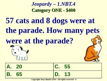 1.NBT.4 1st Grade Math Jeopardy Game - Add Within 100 Word Problems