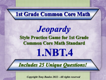 1.NBT.4 1st Grade Math Jeopardy Game - Add Within 100 Word
