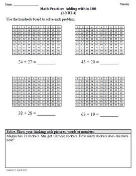 (1.NBT.4) Add within 100 -1st Grade Common Core Math Worksheets-4th 9 Weeks