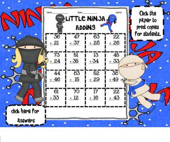 1.NBT.4 Adding 2 Digit Numbers Little Ninja SMARTBoard Lesson