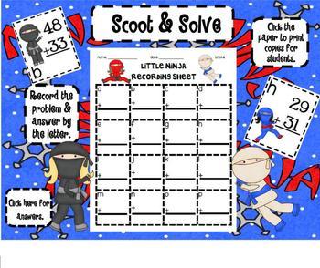 1.NBT.4 Adding 2 Digit Numbers Little Ninja SMARTBoard Lesson & Scoot Game