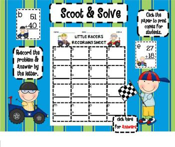 1.NBT.4 Adding 2 Digit Numbers Little Racers SMARTBoard Lesson & Scoot Game