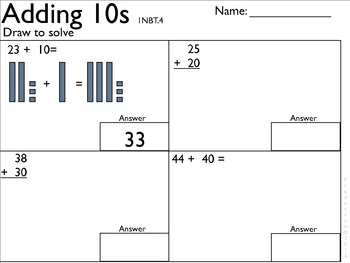 1NBT4 Addition within 100-with room to work