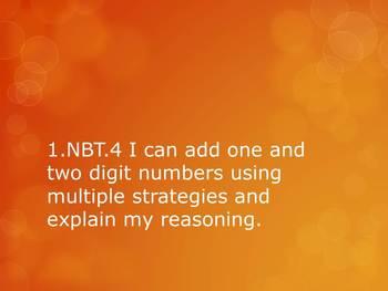 1.NBT.4 CC 1st Grade Math - Adding 1 and 2 Digit Numbers W