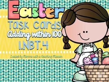 1.NBT.4 Easter Task Cards Adding within 100