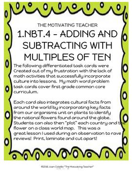 1NBT4 Multi-Cultural & Science Math Word Problems Common Core Aligned