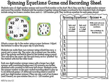 1.NBT.4 Spinning Equations Game {Adding a 2-digit number & a 1-digit number}