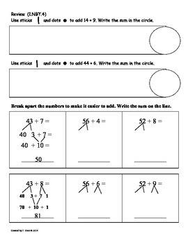 (1.NBT.5) 10 Less and 10 More -1st Grade Common Core Math Worksheets-3rd 9 Weeks