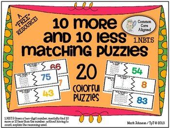1.NBT.5  10 More and 10 Less Matching Puzzles {A FREE Game or Center Activity}