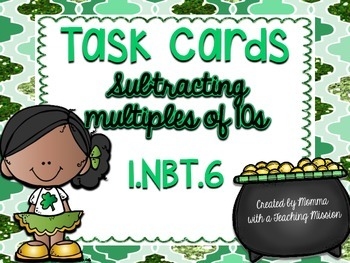 1.NBT.6 Task Cards Subtracting multiples of 10