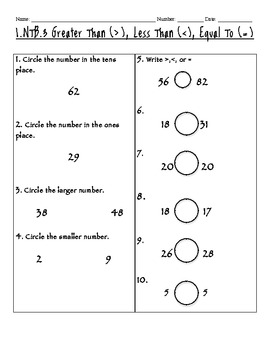 1.NTB.3 Greater Than, Less Than, Equal To worksheets and assessment