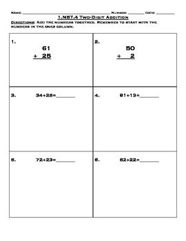1.NTB.4 Double Digit Addition Worksheets, Homework, and Assessment