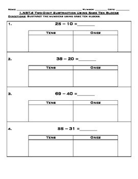 1.NTB.6 Two Digit Subtraction Worksheets and Assessment