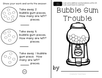 1.OA.1 & 1.OA.5 Math Subtraction Mini Book