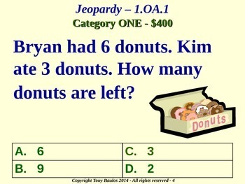 1.OA.1 1st Grade Math Jeopardy Game - Addition and Subtraction Word Problems