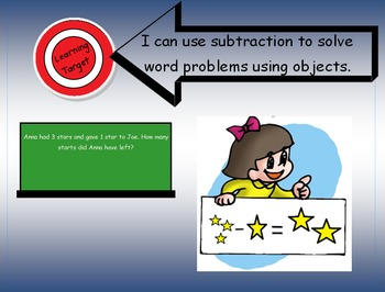 "1.OA.1 Learning Target Poster with ""I can statements"" for 1st Grade Subtraction"