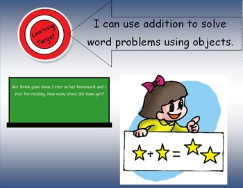 "1.OA.1 Learning Target Poster with ""I can statements"" for First Grade Math"