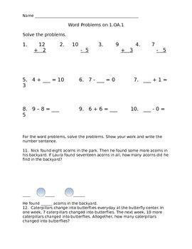 1.OA.1 Math Assessment