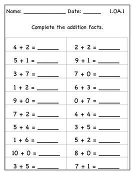 1.OA.1 Addition and Subtraction Fact and Word Problems Practice!