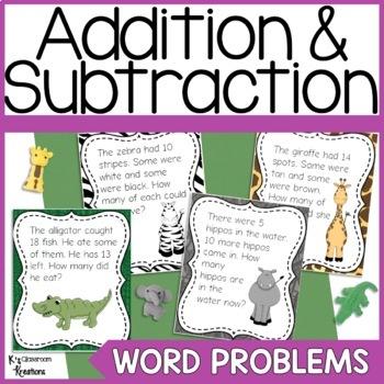 1st Grade Word Problems Jungle Theme