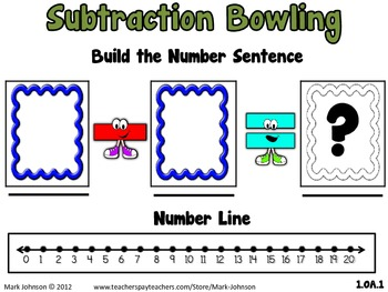 1.OA.1 Subtraction Bowling Math Center  Word Problems with an Unknown Result