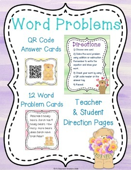 1.OA.1 Teddy Bear Addition and Subtraction Word Problems