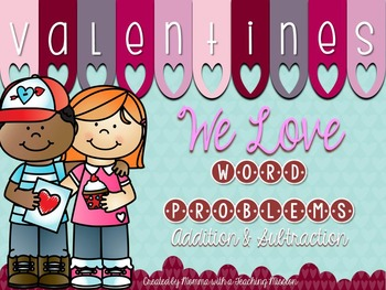 1.OA.1 Valentines Word Problem Task Cards Addition & Subtraction