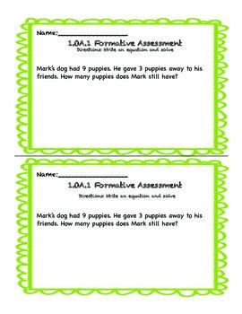 1.OA.1 Word Problem Assessments