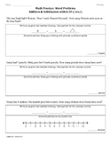 (1.OA.1) Word Problems -1st Grade Common Core Math Worksheets-2nd 9 Weeks