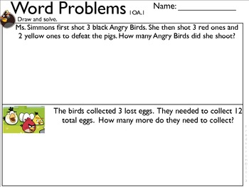 1OA1 Word problems with missing addends and minuends