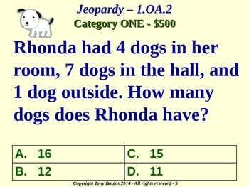 1.OA.2 1st Grade Math Jeopardy Game -  Addition Of Three Numbers Word Problems