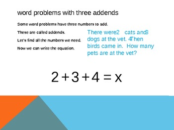 1.OA.2 Common Core First Grade Math - Word Problems with Three Addends
