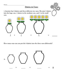 1.OA.2 Daisies in Vases Adding 3 numbers