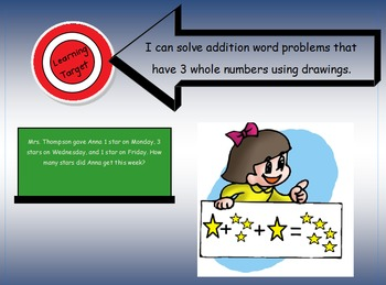 "1.OA.2 Learning Target Poster with ""I can statements"" for 1st Grade Addition"