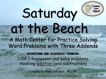 1.OA.2 Saturday at the Beach Math Center  Solving Word Pro