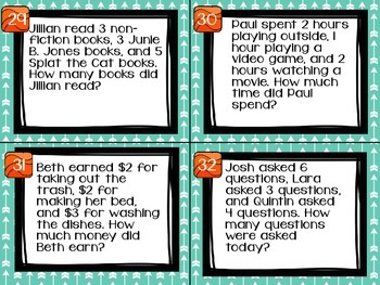 1.OA.2 Task Cards Addition with 3 addend Word Problems
