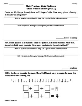 (1.OA.2) Word Problems: 3 Numbers - 1st Grade Common Core Worksheets-4th 9 Weeks