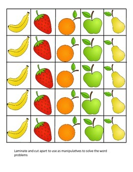 1.OA.2, Word Problems Center, Fruity Fun