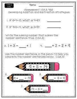 1.OA.3, 1.OA.4 & 1.OA.6 Addition & Subtraction Strategies Performance Assessment
