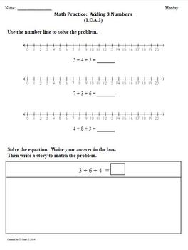 (1.OA.3) Adding 3 Numbers -1st Grade Common Core Math Work
