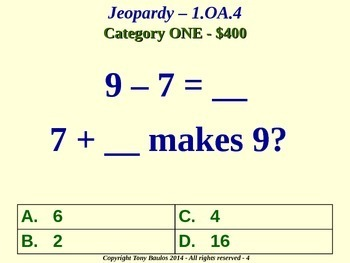 1.OA.4 1st Grade Math Jeopardy Game Subtraction As An Unknown-Addend Problem