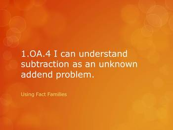 1.OA.4 CC First Grade Math Subtraction as Unknown Addend LESSON