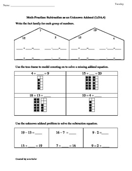 OA.4 First Grade Math Common Core Worksheet Missing Addends ...
