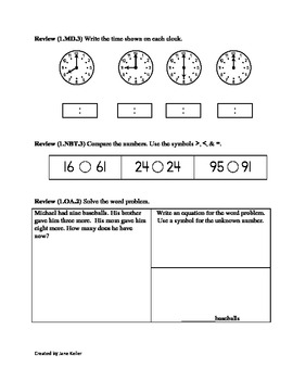 1.OA.4 First Grade Math Common Core Worksheet Missing ...