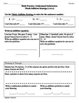 (1.OA.4) Understand Subtraction-1st Grade Common Core Worksheets-3rd 9 Weeks
