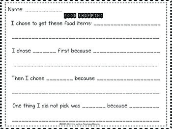 Project Based Learning Activity 1.OA.5 1.OA.6 Let's Go Food Shopping
